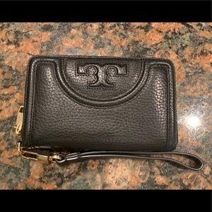 Tory Burch Fleming Wristlet, black pebble leather